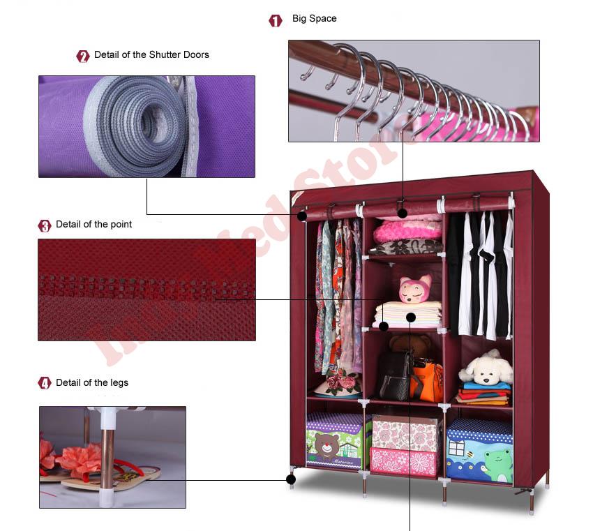 Large Portable Closet : Large portable fabric wardrobe organizer clothes storage